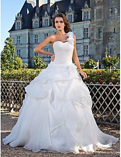 billiga A-linjeformade brudklänningar-Balklänning Enaxlad Golvlång Organza Bröllopsklänningar tillverkade med Pickup-kjol / Blomma / Sidodraperad av LAN TING BRIDE®