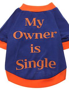 billiga Hundkläder-Hund T-shirt Hundkläder Bokstav & Nummer Blå Cotton Kostym För husdjur