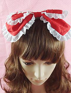 billige Smykketyper-Smykker Søt Lolita Hodeplagg Prinsesse Dame Svart Rød Blå Rosa Lolita-tilbehør Ensfarget Sløyfeknute Hodeplagg Bomull