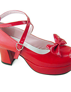 billiga Lolitamode-Skor Söt Lolita Söt Lolita Handgjord Högklackat Skor Enfärgad 8 cm CM Till PU-läder / Polyuretan Läder Polyuretan Läder Halloweenkostymer