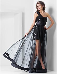 billige Paljettkjoler-Kappe / kolonne en skulder kjære gulvlengde asymmetrisk tulle kjole med drapering av ts couture®