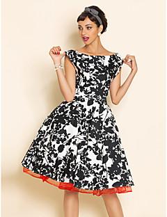 Kadın Çalışma Büyük Beden Vintage Salaş Kılıf Çan Elbise Desen,Kolsuz Yuvarlak Yaka Diz-boyu Pamuklu Polyester Yaz Normal Bel Esnemez Orta