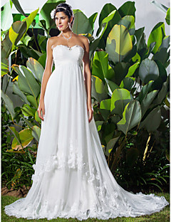 billiga Imperiumbrudklänningar-A-linje Hjärtformad urringning Kapellsläp Tyll Bröllopsklänningar tillverkade med Bård / Applikationsbroderi / Veckad av LAN TING BRIDE®