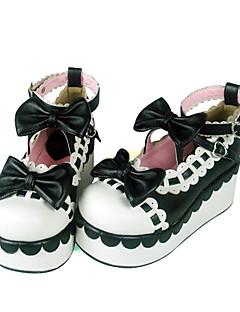 billiga Lolitamode-Skor Söt Lolita Shiro& Kuro Lolita Handgjord Kilklack Skor Rosett 7 cm CM Svart / Röd Till PU-läder / Polyuretan Läder Polyuretan Läder Halloweenkostymer