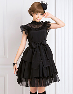 Μονοκόμματο/Φορέματα Γοτθική Λολίτα Lolita Cosplay Φορέματα Λολίτα Μαύρο Μονόχρωμο Αμάνικο Μεσαίου Μήκους Φόρεμα Για την