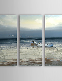tanie Pejzaże abstrakcyjne-Ręcznie malowane Krajobraz Poziomy Brezentowy Hang-Malowane obraz olejny Dekoracja domowa Trzy panele
