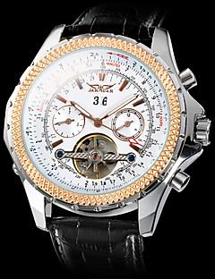 お買い得  有名ブランド腕時計-男性用 機械式時計 リストウォッチ 自動巻き 透かし加工 レザー バンド ぜいたく ブラック