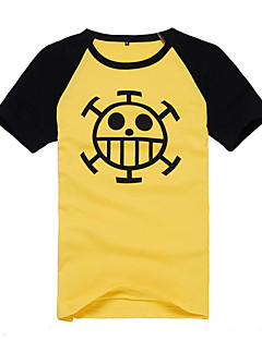 baratos Fantasias Anime-Inspirado por One Piece Trafalgar Law Anime Fantasias de Cosplay Tops Cosplay / Bottoms Estampado Manga Curta Casaco Para Homens
