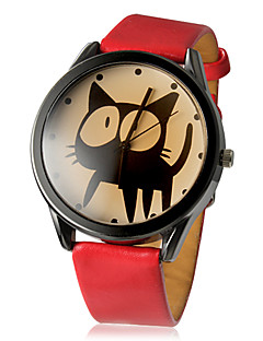 Dames Modieus horloge Kwarts PU Band Cartoon Zwart Wit Rood