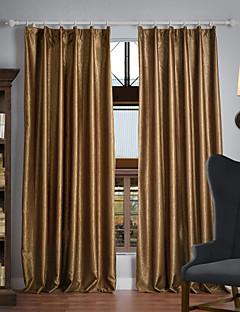 billige Mørkleggingsgardiner-Stanglomme Propp Topp Fane Top Dobbelt Plissert To paneler Window Treatment Neoklassisk, Mønsterpreget Ensfarget 100% Polyester Polyester