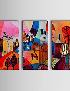 tanie Pejzaże abstrakcyjne-ręcznie malowany abstrakcyjny obraz olejny cieszyć się wioską szczęśliwe życie abstrakcyjne sztuki trzy panele naciągnięte na płótnie