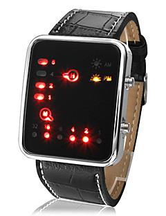 billige Digitalure-Herre Armbåndsur Digital Kalender LED Sej PU Bånd Digital Afslappet Sort - Sort