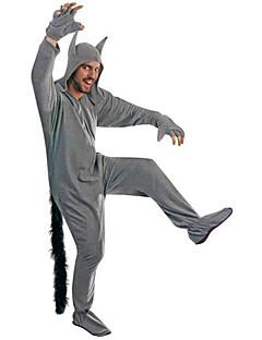 billige Kigurumi-Voksne Kigurumi-pysjamas Ulv Onesie-pysjamas polyester Cosplay Til Damer og Herrer Pysjamas med dyremotiv Tegnefilm Festival / høytid kostymer