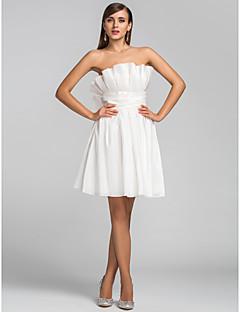 a-line princess straplessショート/ミニタフタカクテルパーティー帰国のドレス、ruching ruffles by tscouture®