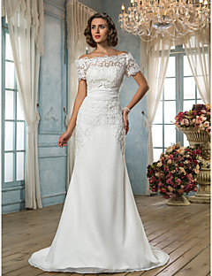 cheap True Allure-Mermaid / Trumpet Off Shoulder Sweep / Brush Train Chiffon Lace Wedding Dress with Sash / Ribbon by LAN TING BRIDE®