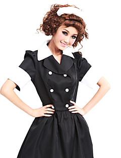 billige Tjenestepike- Drakter-Fasjonable jente Svart Cotton Blended Maid Uniform
