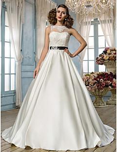 cheap Vintage Romance-A-Line Princess Illusion Neckline Floor Length Lace Satin Custom Wedding Dresses with Beading Appliques Sash / Ribbon by LAN TING BRIDE®