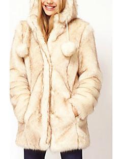 billige Lagersalg-HAODUOYI Imitasjon Fur Hettegenser med ører Coat