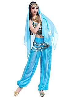 ריקוד בטן תלבושות בגדי ריקוד נשים שיפון חרוזים מטבעות 4 חלקים עליון מכנסיים אביזרים לשיער צעיף מותניים לריקודי בטן