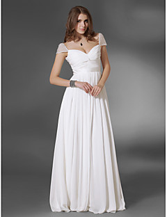 A-Line Princess V-neck Off-the-shoulder Floor Length Chiffon Evening Dress with Beading by TS Couture®