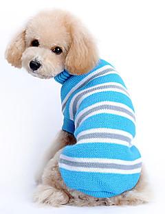 baratos -Gato Cachorro Súeters Roupas para Cães Casual Mantenha Quente Riscas Azul Ocasiões Especiais Para animais de estimação