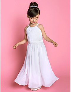 cheap Communion Dresses-A-Line Floor Length Flower Girl Dress - Chiffon Stretch Satin Sleeveless Jewel Neck with Sash / Ribbon Side Draping by LAN TING BRIDE®