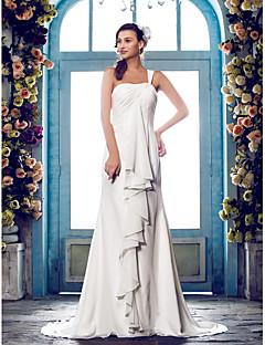 billiga Plusstorlek brudklänningar-Åtsmitande Enaxlad Svepsläp Chiffong Bröllopsklänningar tillverkade med av