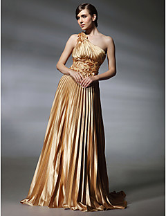 A-Line Princess One Shoulder Sweep / Brush Train Stretch Satin Evening Dress with Beading by TS Couture®