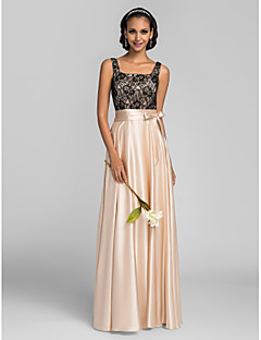 cheap Special Occasion Dresses-Sheath / Column Square Neck Floor Length Charmeuse Bridesmaid Dress with Lace Sash / Ribbon by LAN TING BRIDE®