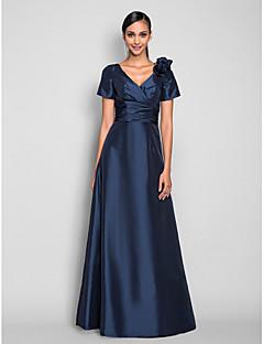 billiga Aftonklänningar-A-linje V-hals Golvlång Taft Bal / Formell kväll Klänning med Sidodraperad / Veckad / Blomma av TS Couture®