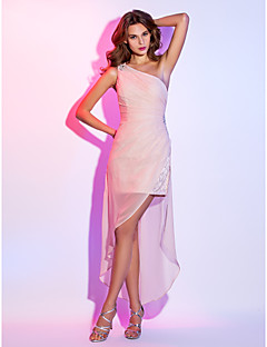 cheap Special Occasion Dresses-Sheath / Column One Shoulder Short / Mini Velvet Chiffon Cocktail Party / Homecoming Dress with Beading Side Draping by TS Couture®