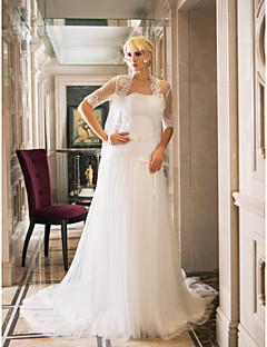 billiga Plusstorlek brudklänningar-Åtsmitande Axelbandslös Hovsläp Spets / Tyll Bröllopsklänningar tillverkade med av LAN TING BRIDE® / Ja