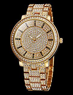 女性用 ドレスウォッチ 宝飾腕時計 クォーツ 模造ダイヤモンド ステンレス バンド 光沢タイプ シルバー ゴールド