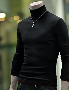 Men'S Two Piece Like Contrast Color High Collar Knit Sweater