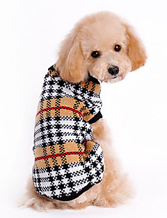 Cat Dog Sweater Dog Clothes Classic Keep Warm Plaid/Check Brown