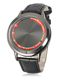 Pánské Hodinky k šatům Módní hodinky Náramkové hodinky Křemenný Dotykové Kůže Kapela Černá