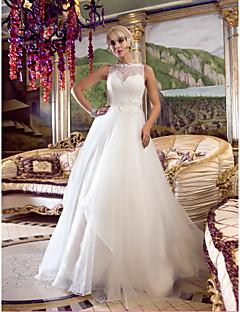 billiga Prinsessbrudklänningar-A-linje / Prinsessa Queen Anne Hovsläp Spets / Organza Bröllopsklänningar tillverkade med Bård / Applikationsbroderi / Knapp av LAN TING BRIDE® / Genomskinliga