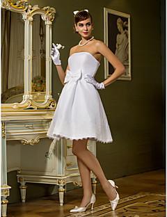 billiga Prinsessbrudklänningar-A-linje / Prinsessa Axelbandslös Knälång Taft Bröllopsklänningar tillverkade med Rosett / Bälte / band av LAN TING BRIDE® / Liten vit klänning