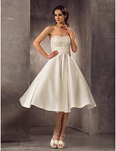 billiga A-linjeformade brudklänningar-A-linje Axelbandslös Telång Spets / Satäng Bröllopsklänningar tillverkade med Bård / Bälte / band av LAN TING BRIDE®