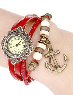 billige Armbåndsure-Dame Quartz Armbåndsur Japansk Hot Salg Ægte læder Bånd Blomst Vintage Bohemisk Hvid Blåt Rød Brun Lilla