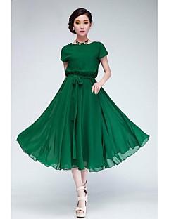 χαλαρά σιφόν μακρύ φόρεμα γυναικών με ιμάντα