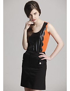 Zoely kvinner Søt Strap Spell Leather Pattern Sleeveless Vest 101123M015