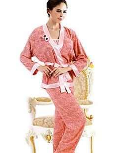 SHINEROSE  Women's Collarless Long Sleeve Pajamas Three Pieces Set