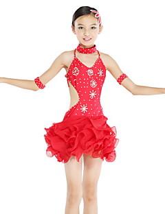 tanie Dziecięca odzież do tańca-Taniec latynoamerykański Suknie Wydajność Spandeks Szyfon Kryształy / kryształy górskie