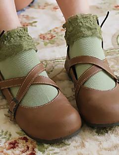 billiga Lolitamode-Strumpor / Strumpbyxor Söt Lolita Snörning Dam Vit Grön Blå Rosa lolita tillbehör Spets Strumpor Polyester Cotton