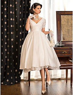 cheap Wedding Dresses-A-Line / Princess V Neck Tea Length Taffeta Made-To-Measure Wedding Dresses with Lace / Criss Cross by LAN TING BRIDE®