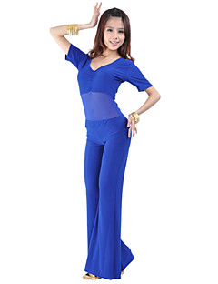 Belly Dance Outfits Women's Training Rayon Nylon Pleated 2 Pieces Half Sleeve Dropped Top Pants