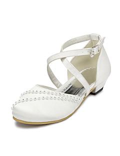 お買い得  フラワーガールシューズ-女の子 靴 サテン 春夏 コンフォートシューズ フラット ラインストーン のために ピンク / フクシア / パープル / 結婚式 / パーティー