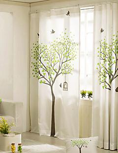 baratos Cortinas Transparentes-Cortinas cortinas Quarto Linho / Mistura de Algodão Estampado