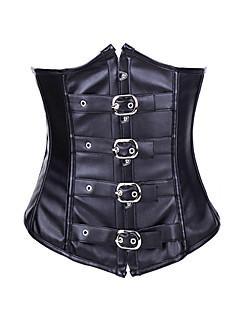 billiga Lolitamode-Korsett Punk Lolita Korsett Stringtrosor PU-läder / Polyuretan Läder Kostymer
